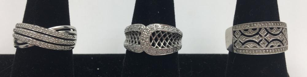 STERLING SILVER LOT OF THREE RINGS WITH CZ'S