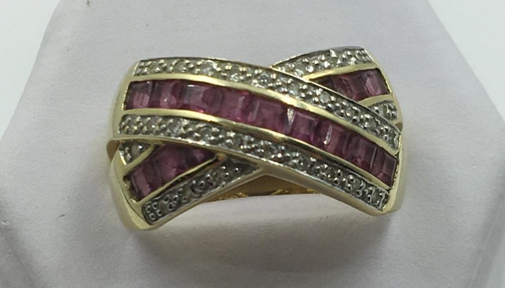 14K Y GOLD RUBY & DIAMOND RING, SIZE 9 1/2