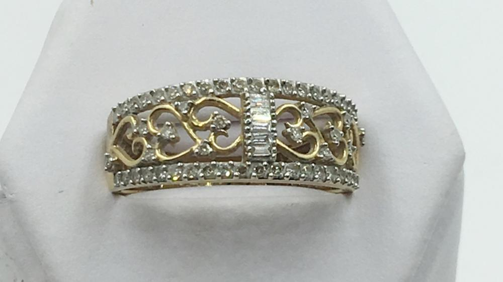 14K Y GOLD FILIGREE DIAMOND RING, SIZE 9 1/2