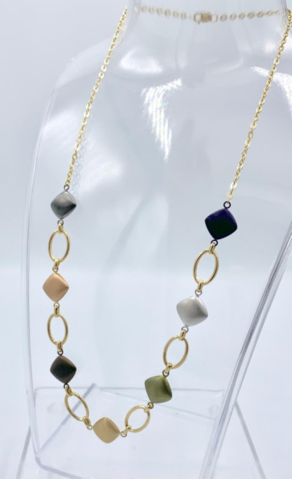 14K YELLOW GOLD WITH COLORED GOLD NECKLACE