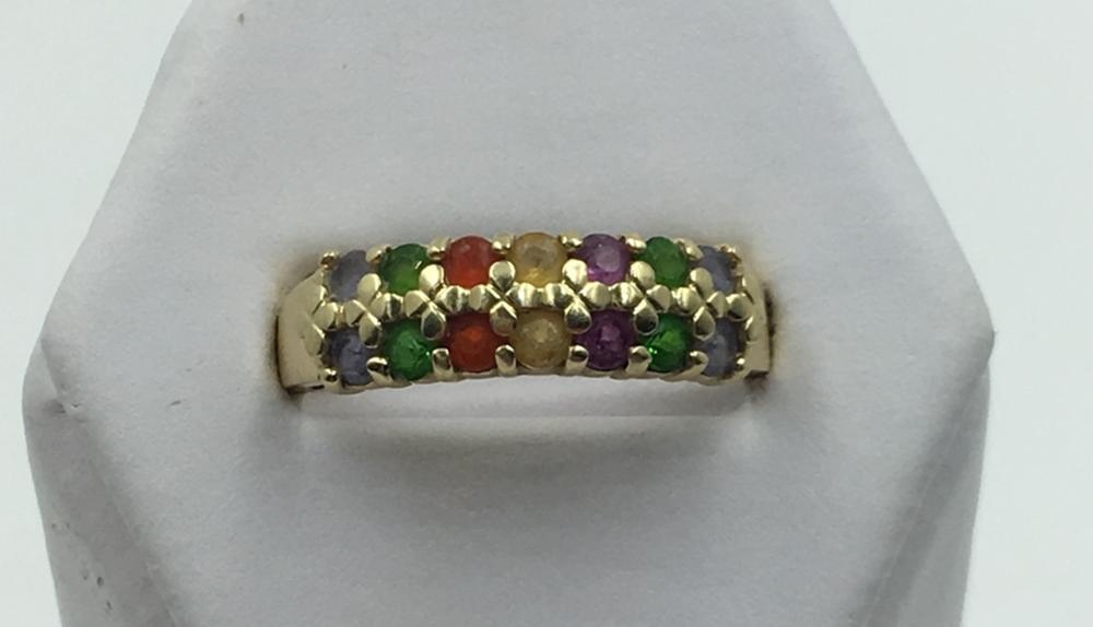 14K Y GOLD MULTI - GEMSTONE RING, SIZE 9 1/2