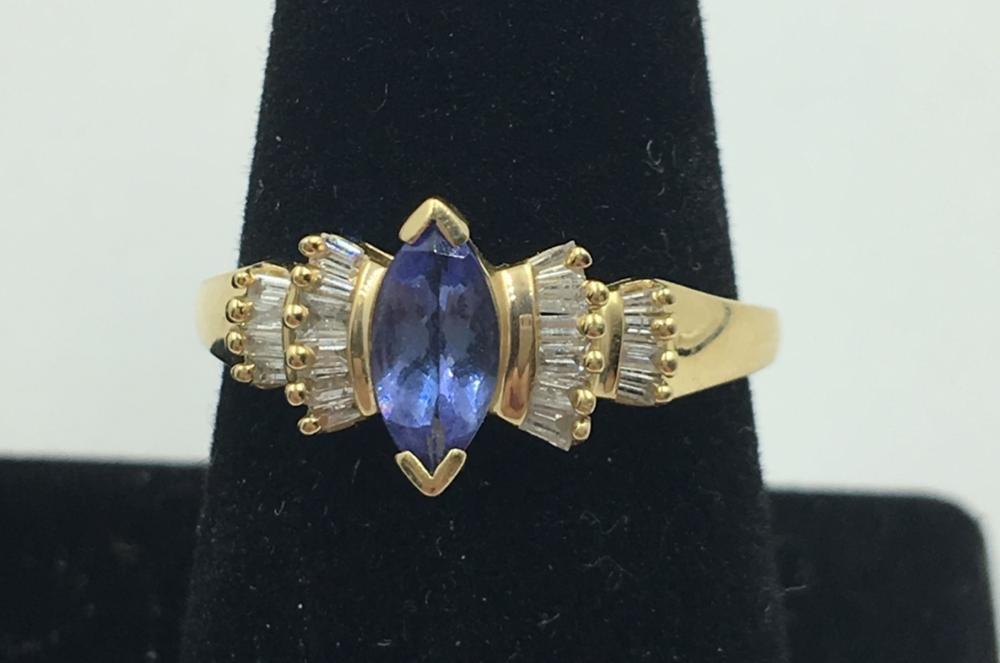 14K Y GOLD SAPPHIRE & DIAMOND RING, SIZE 9 3/4