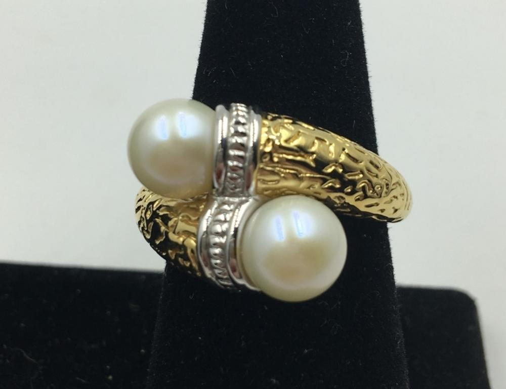 18K Y GOLD RING WITH CULTURED PEARLS