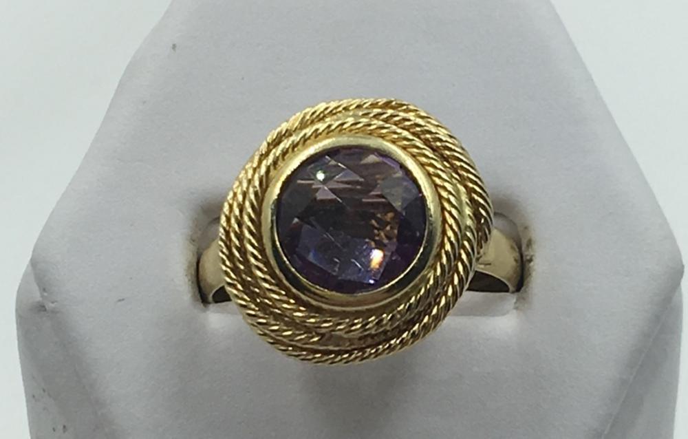 14K Y GOLD AMETHYST RING SIZE 9 1/2