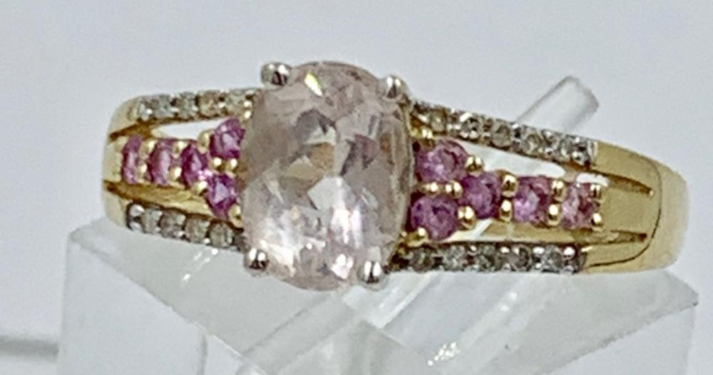 14K Y GOLD RING PINK AND WHITE CZ'S