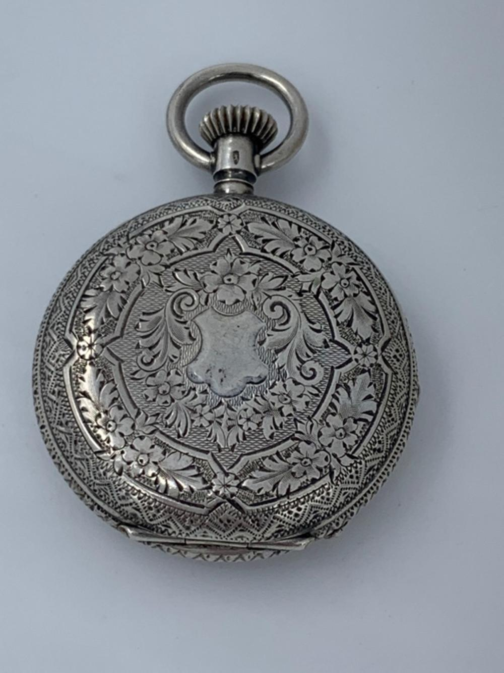 O SIZE SWISS SILVER HUNTING CASE P. MOSER