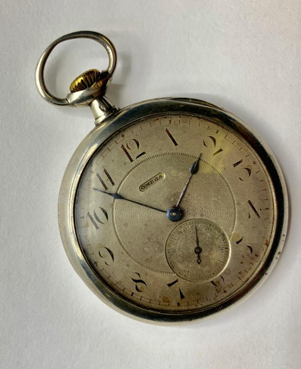 16 SIZE OMEGA OPEN FACE  POCKET WATCH