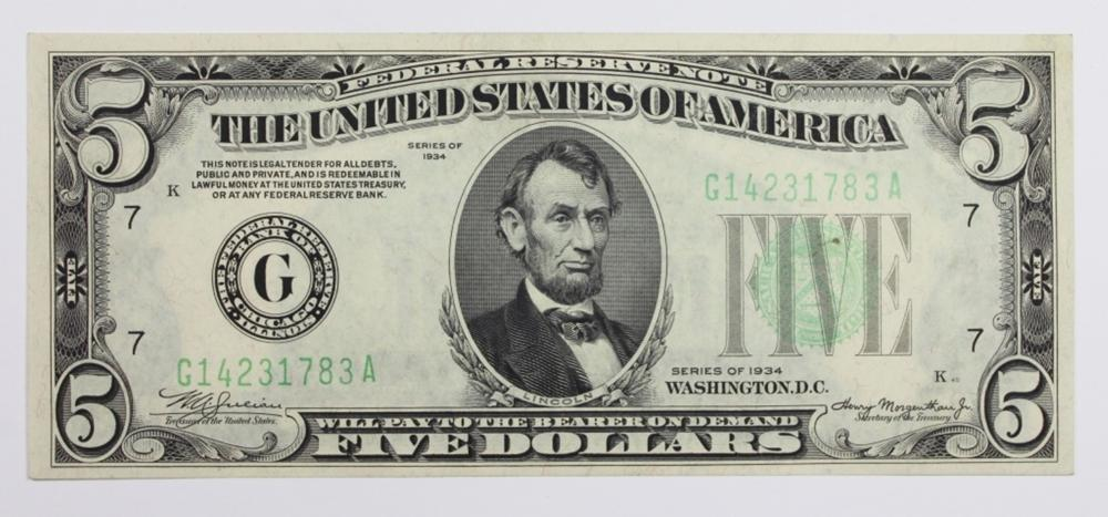 1934 $5.00 FEDERAL RESERVE NOTE