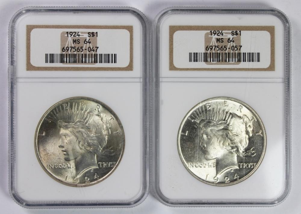 (2) 1924 PEACE SILVER DOLLARS