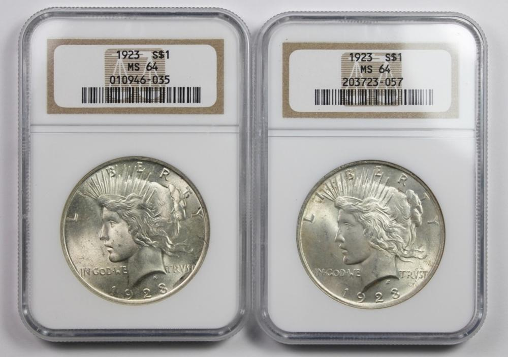 TWO 1923 PEACE DOLLARS