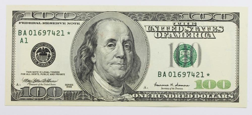 1999 $100.00 FEDERAL RESERVE STAR NOTE