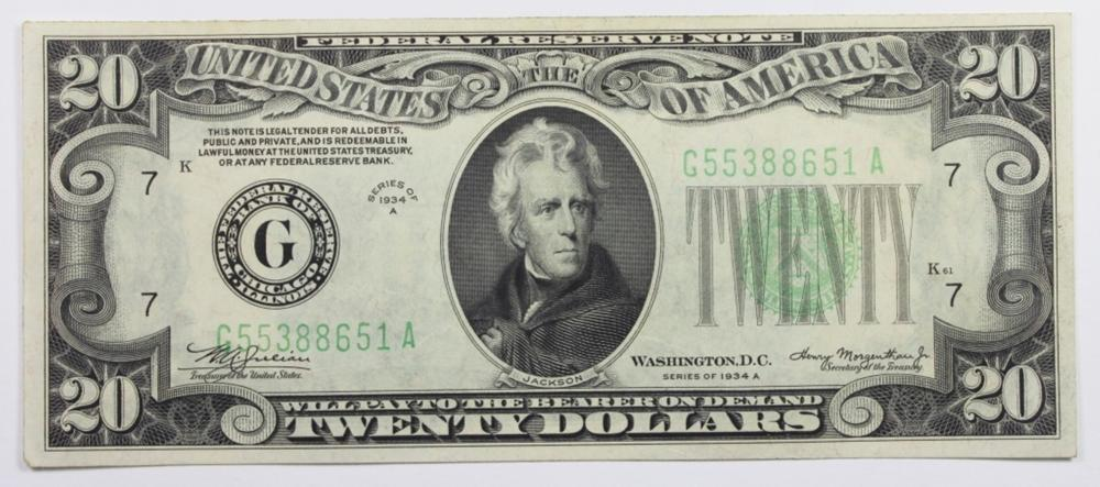 1934-A $20 FEDERAL RESERVE NOTE
