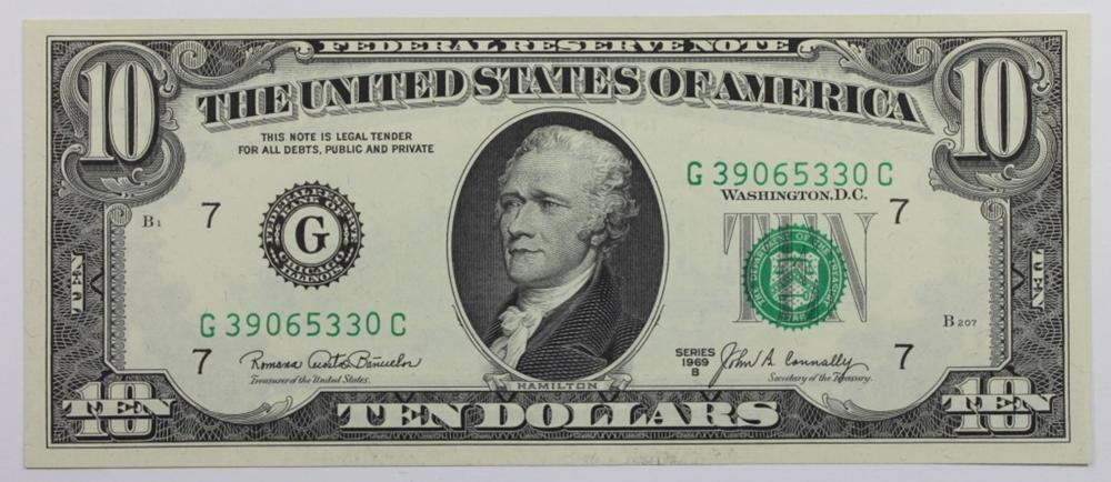 1969-B $10.00 FEDERAL RESERVE NOTE