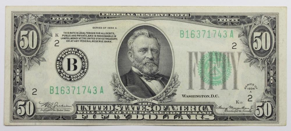 1934-A $50 FEDERAL RESERVE NOTE