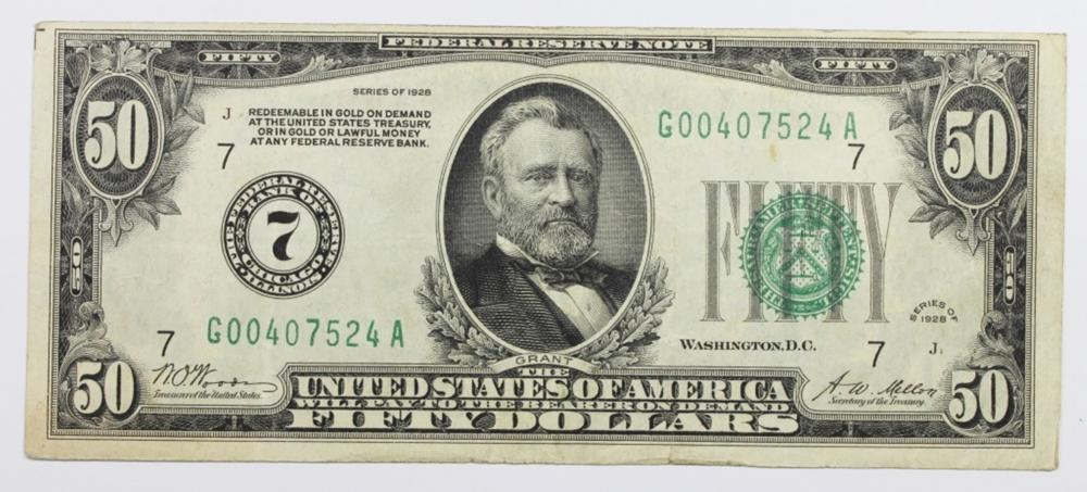 1928 $50.00 FEDERAL RESERVE NOTE