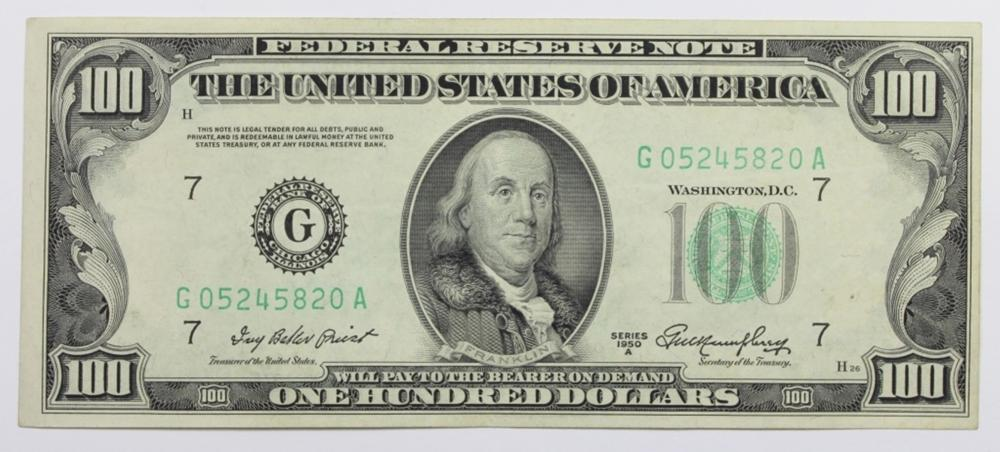 1950 A $100.00 FEDERAL RESERVE NOTE