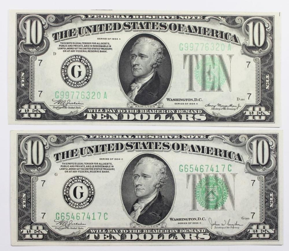 $10.00 FEDERAL RESERVE NOTES