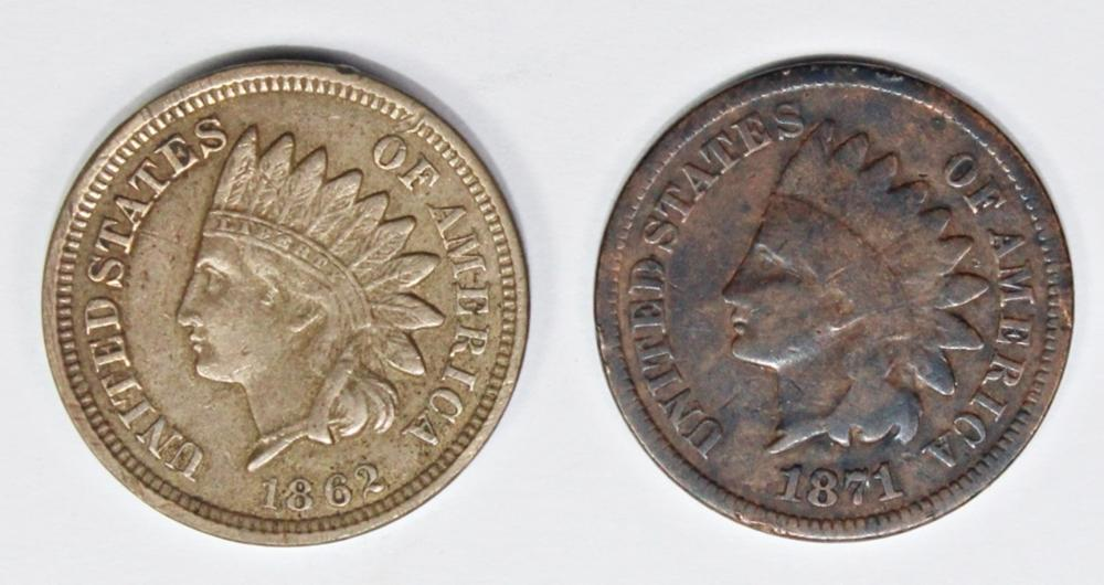 1871 AND 1862 INDIAN CENTS