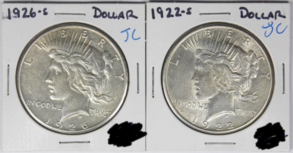 1922-S AND 1926-S PEACE SILVER DOLLARS