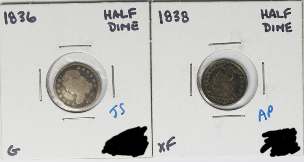 1838 AND 1836 HALF DIMES
