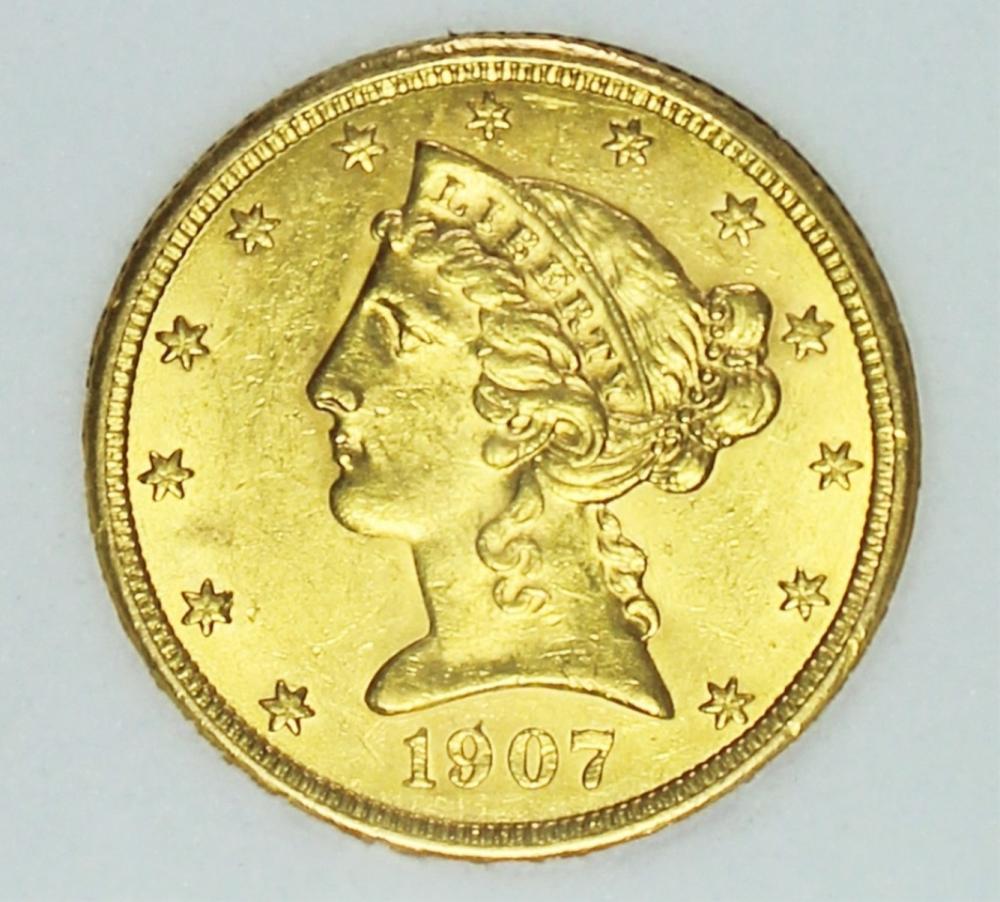 1907 $5 GOLD LIBERTY