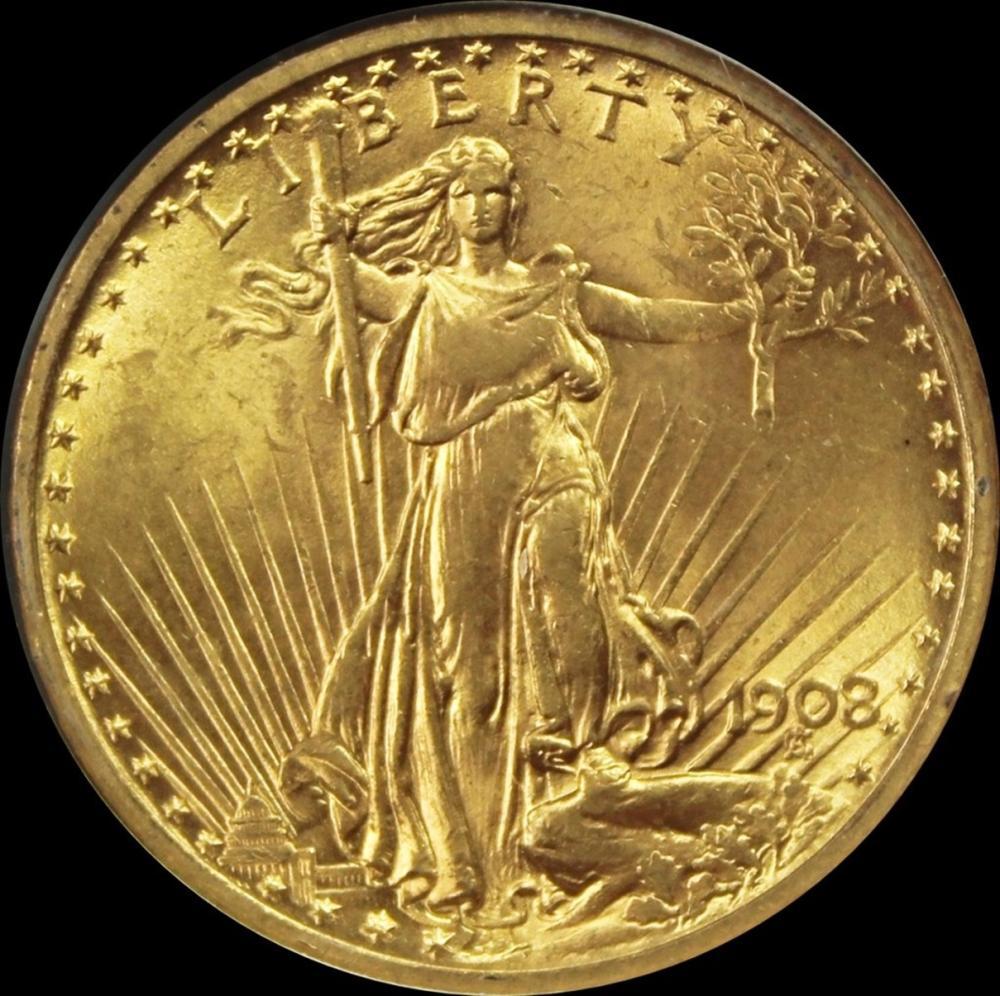 1908 NO MOTTO $20 ST. GAUDEN'S GOLD