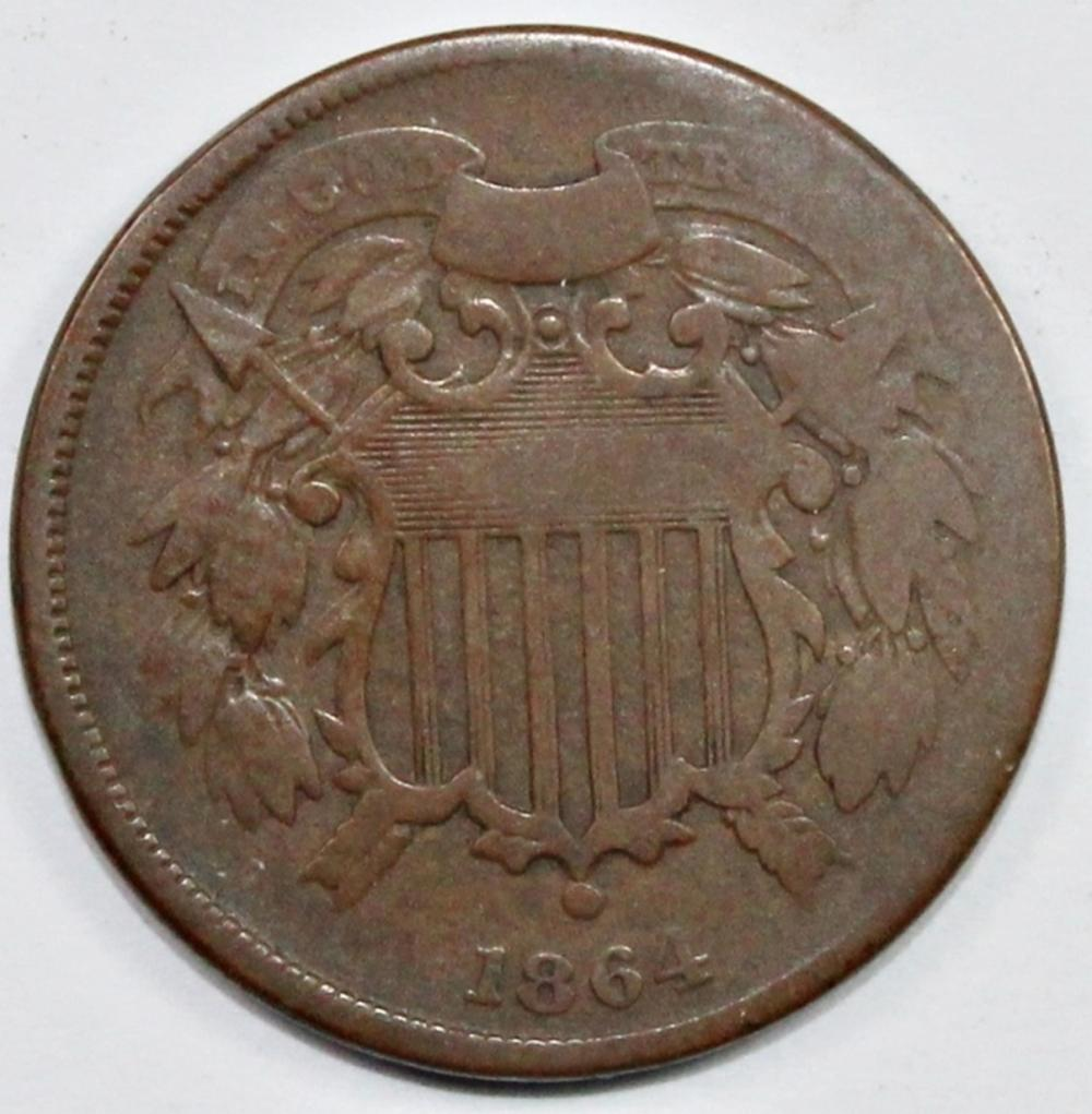 """1864  TWO CENT  PIECE  """"SMALL MOTTO"""""""