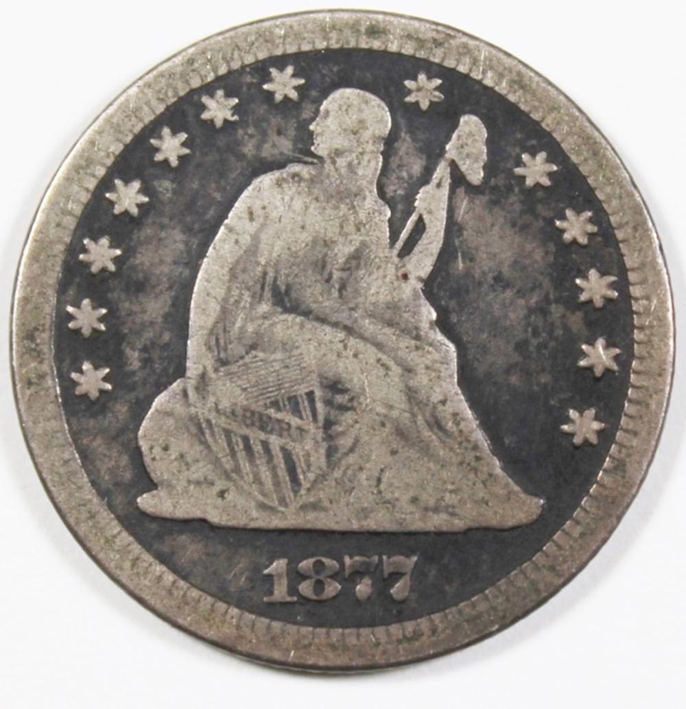 1877 CC SEATED QUARTER