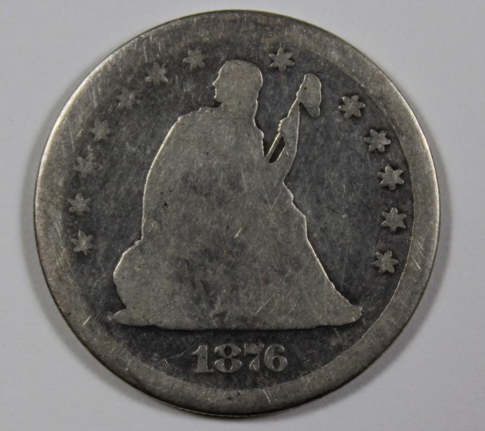 1876 CC SEATED QUARTER