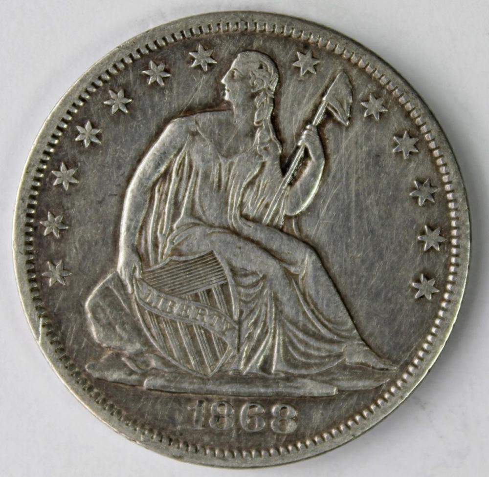 1868-S SEATED HALF DOLLAR