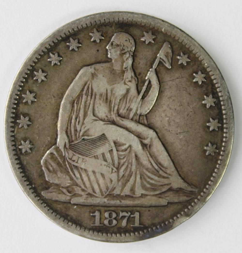 1871-S SEATED HALF DOLLAR