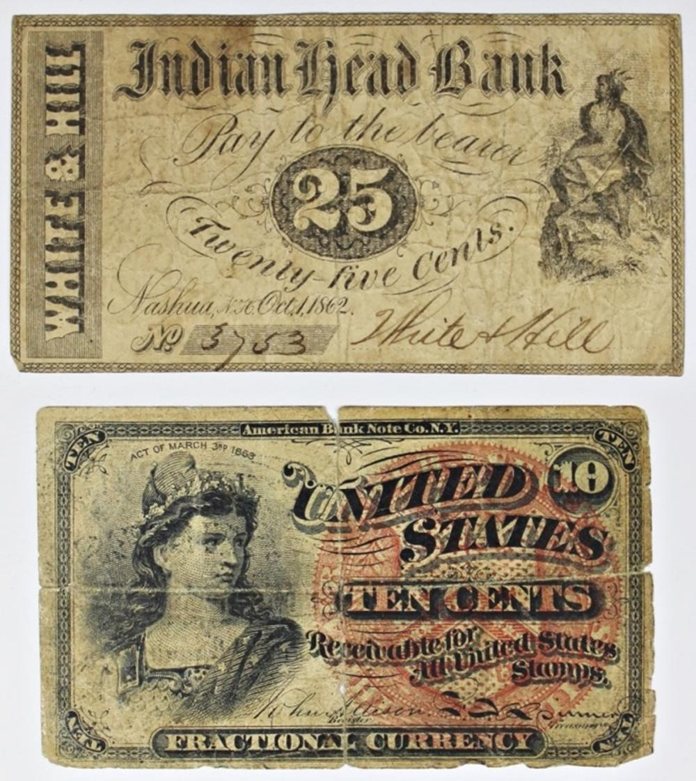 1863 AND 1862 FRACTIONAL CURRENCY