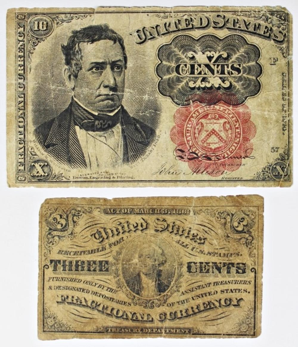 1874 AND 1863 FRACTIONAL CURRENCY