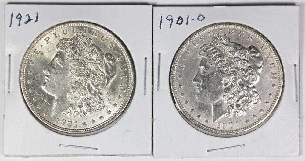 1901-O AND 1921 MORGAN SILVER DOLLARS