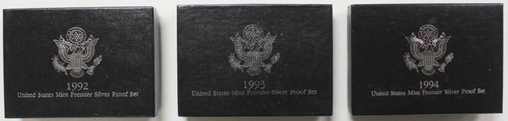 U.S. SILVER PREMIER PROOF SETS: 1992,1993 & 1994