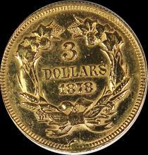 Lot 18: 1878 $3.00 GOLD