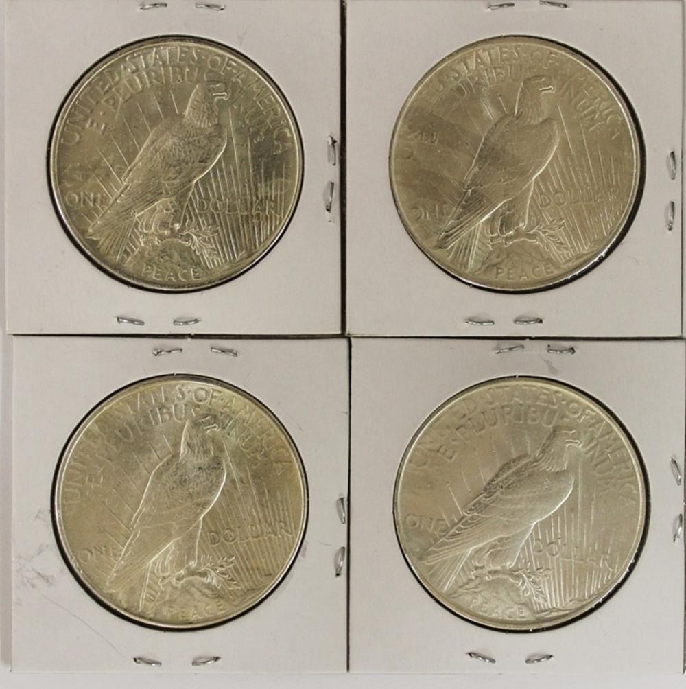 Lot 44: FOUR 1922 PEACE DOLLARS