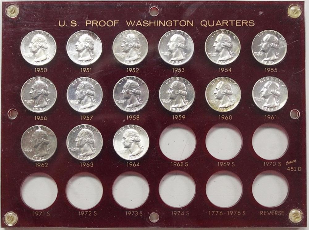 SUPERB PROOF WASHINGTON QUARTER SET: 1950-1964