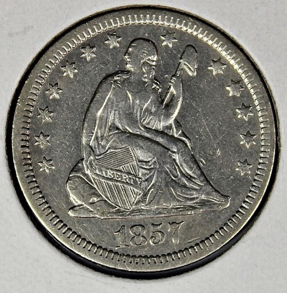 Lot 93: 1857 LIBERTY SEATED QUARTER
