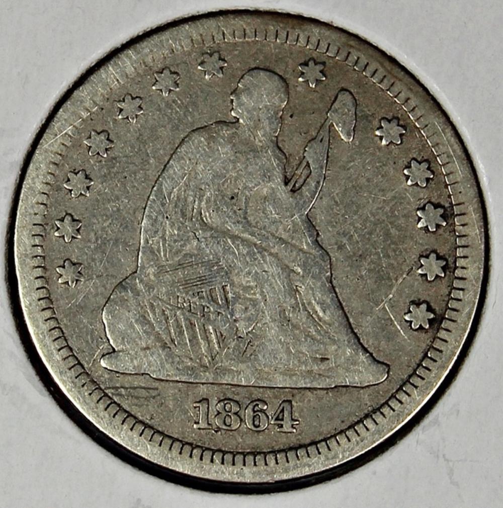 1864 LIBERTY SEATED QUARTER