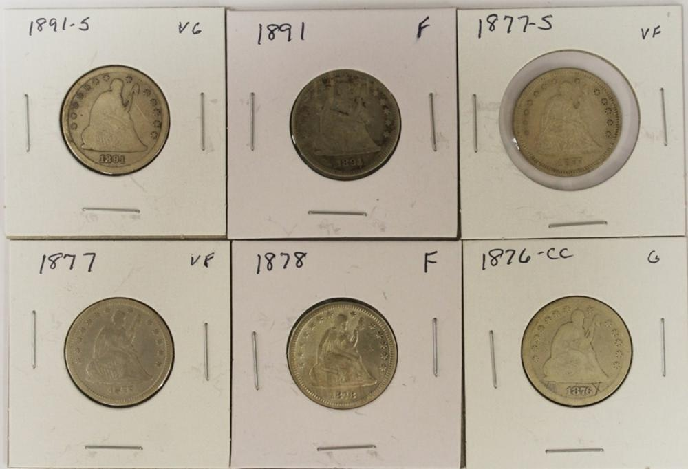 Lot 95: (6) LIBERTY SEATED QUARTERS