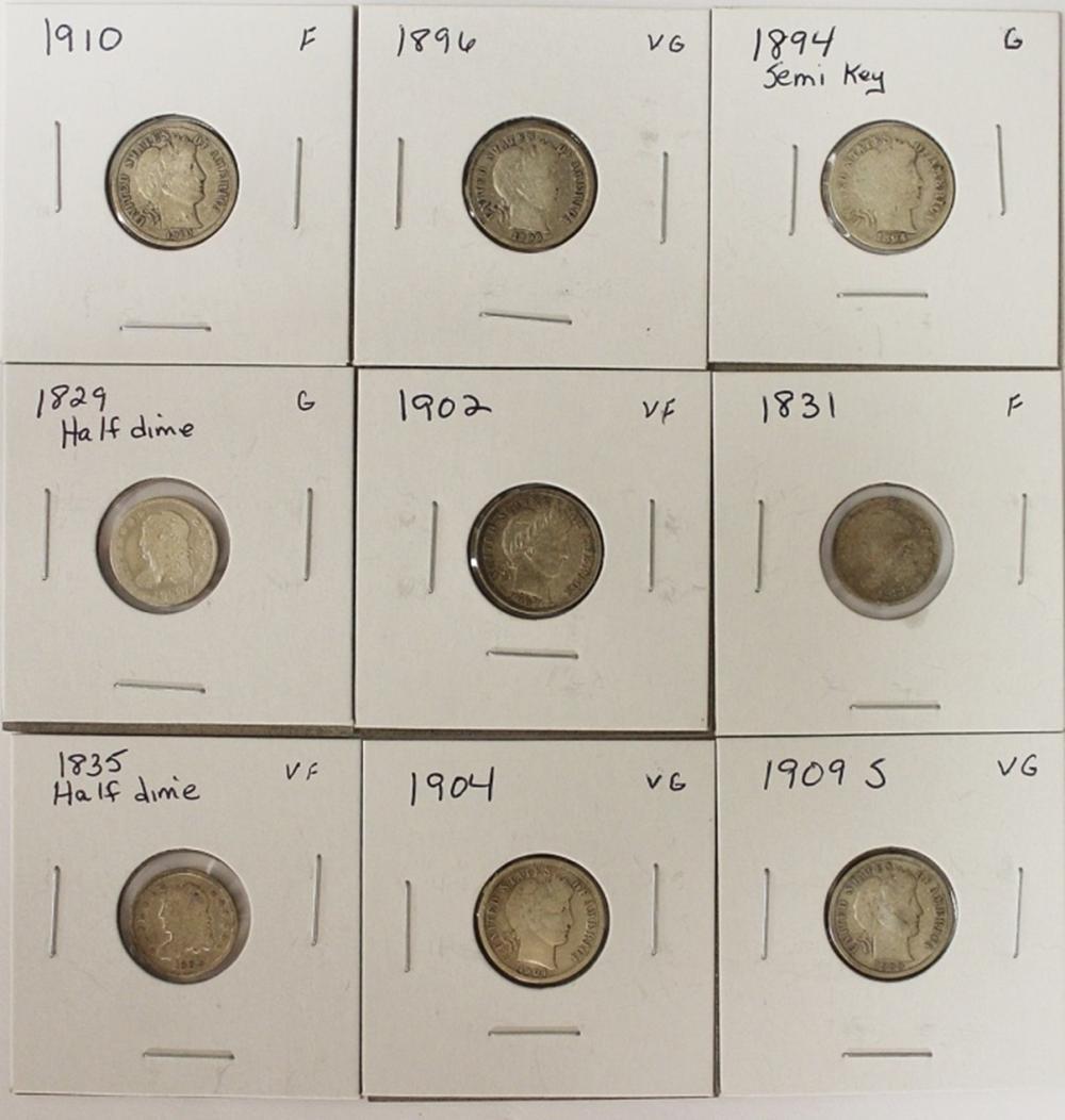(9) DIMES - BARBER AND BUST HALF DIMES