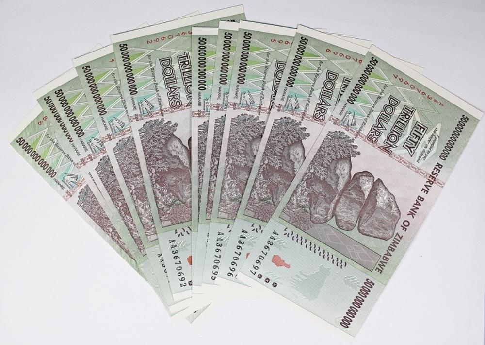 Lot 114: 10 PCS. 50 TRILLION DOLLAR ZIMBAWE NOTES
