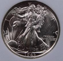 Lot 128: 1943 WALKING LIBERTY HALF DOLLAR
