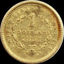 Lot 161: 1851 $1.00 LIBERTY GOLD