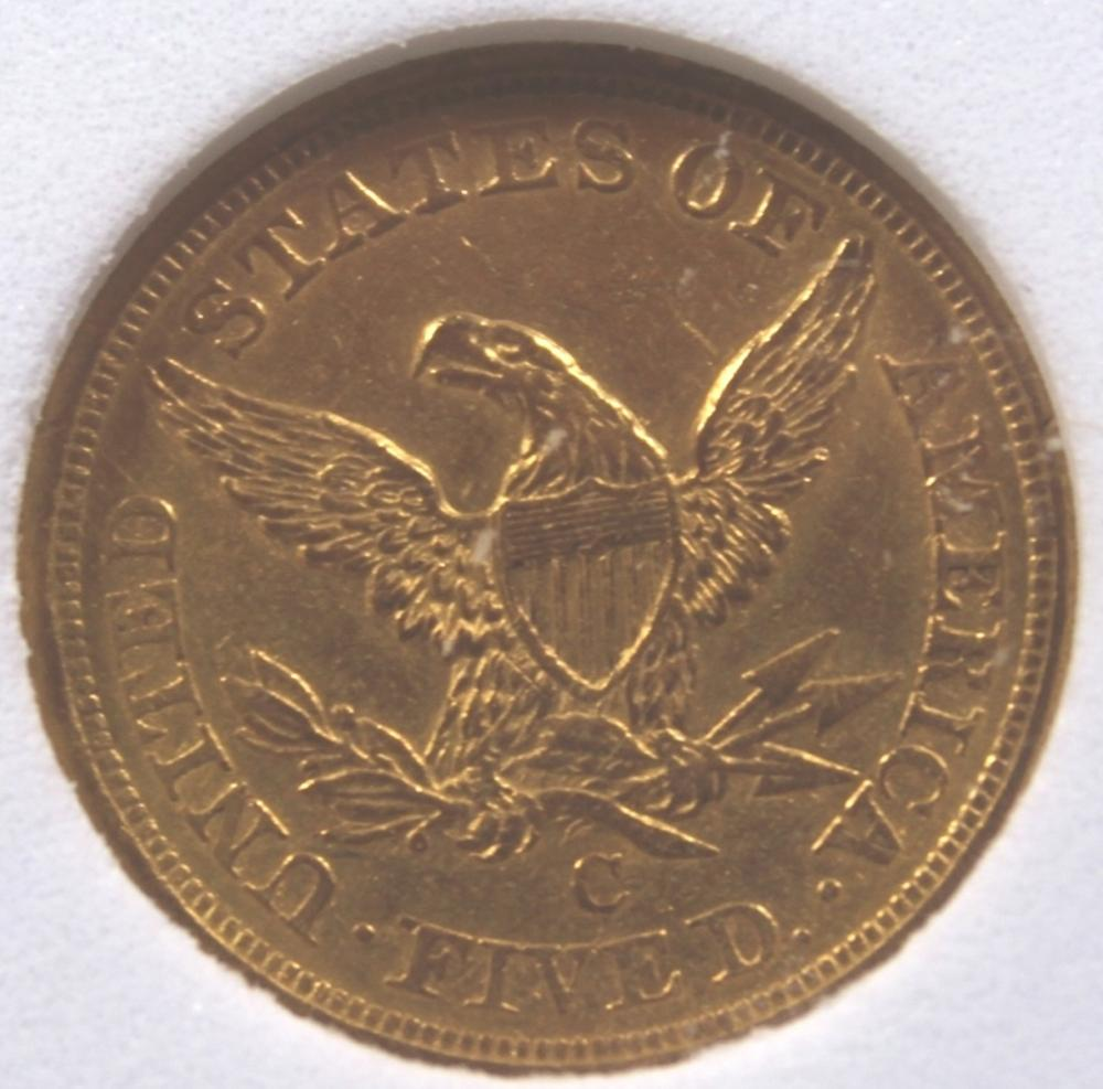 Lot 164: 1857-C $5 GOLD LIBERTY