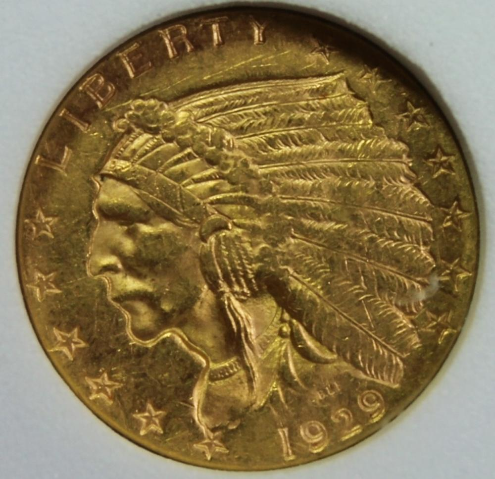 Lot 165: 1929 $2.50 GOLD INDIAN