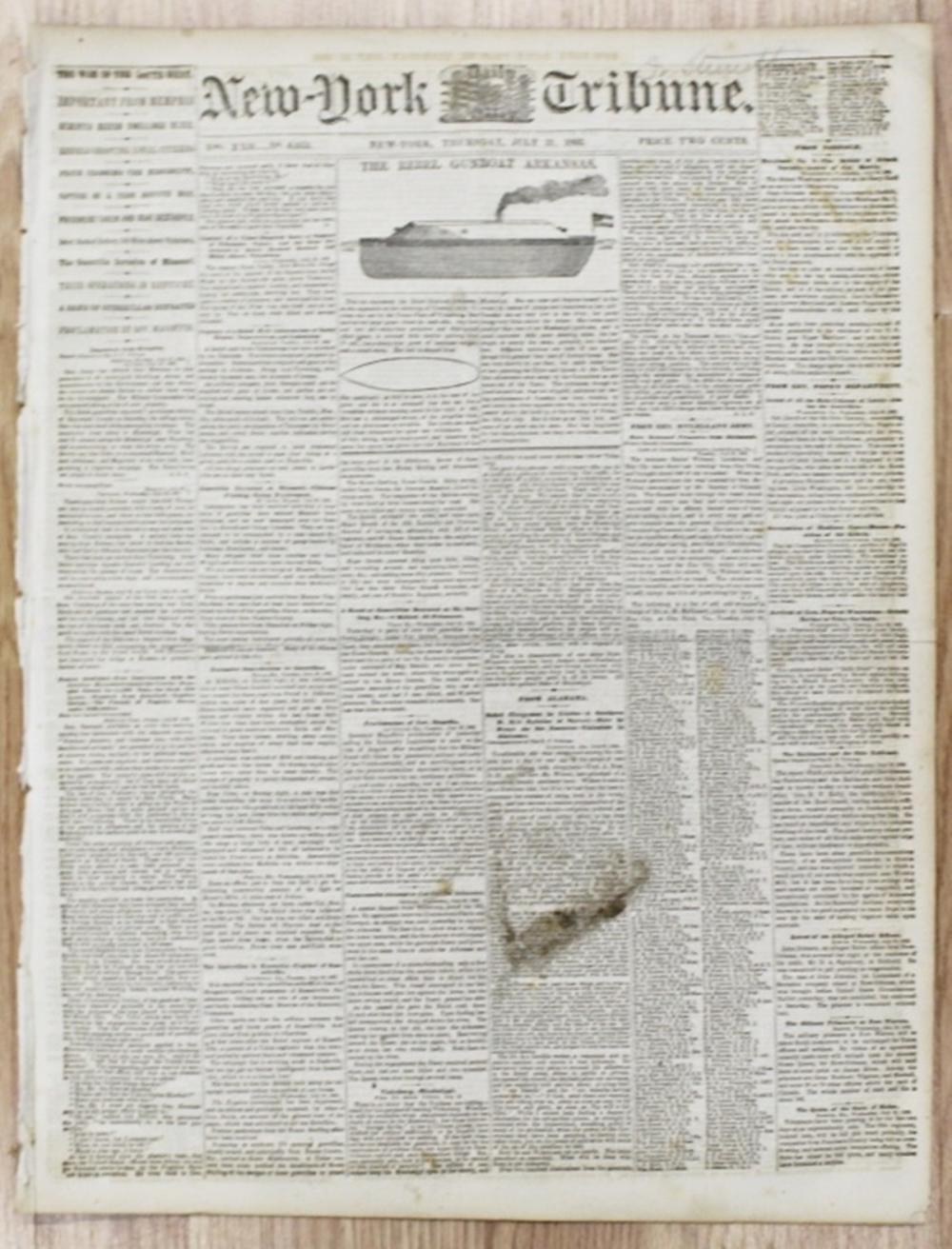 Lot 201: 3 DIFFERENT CIVIL WAR NEWSPAPERS