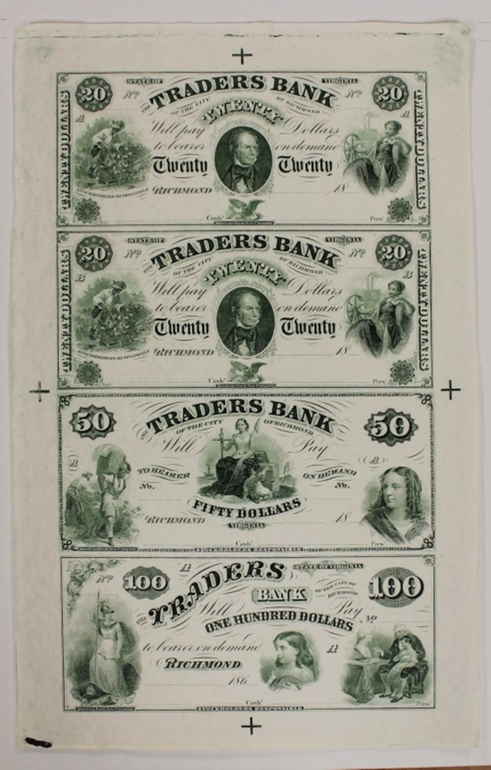 Lot 202: 1860'S VIRGINIA TRADERS BANK PROOF SHEET