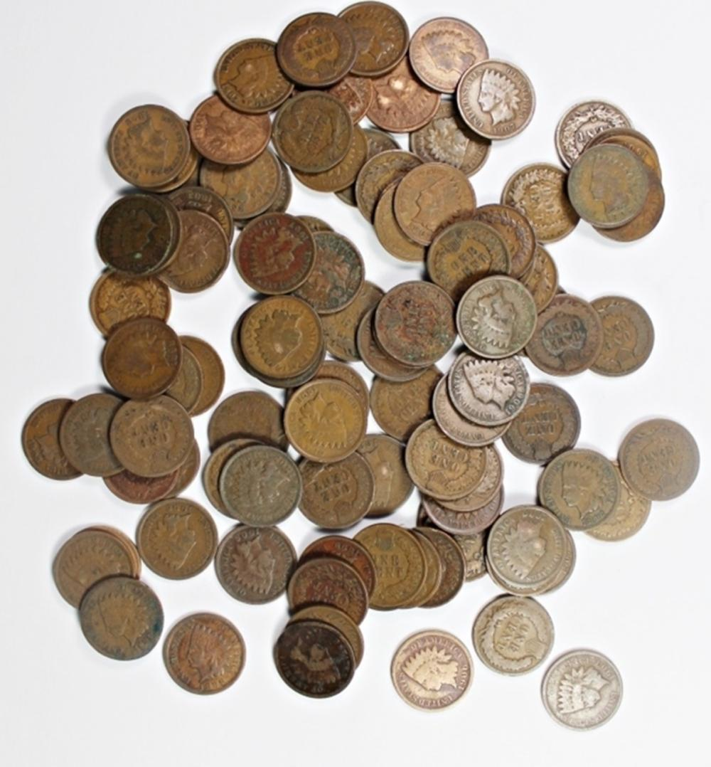 Lot 205: 100 MIXED INDIAN CENTS